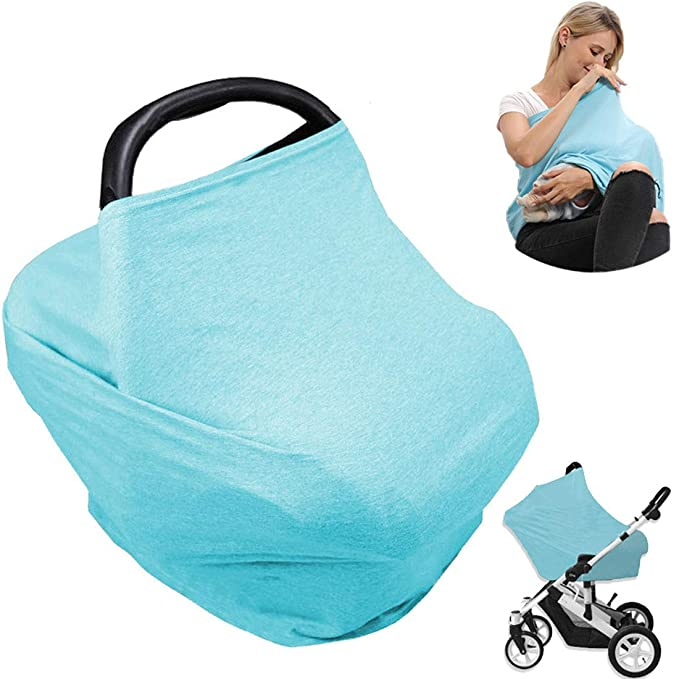 Bird Premium Quality Stretchy Multi-Purpose Carseat Cover Car Seat Canopy Girls Boys Infants Nursing Cover Stroller Cover Shopping Cart Cover with Elastic Band for Snug Hold