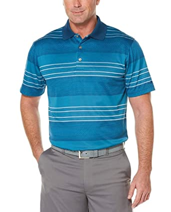 df47c3f31 Grand Slam Big & Tall Men's Ombre Stripe Jacquard Performance Golf Polo  (Poseidon, ...