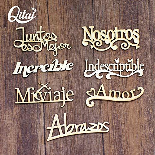Ochoos 21個/ロット 7モデル スペイン語の言葉 手作り DIY ギフト 木製 スペイン文字 装飾 創造性 木製 言葉 装飾セット Wf265 B07NS9QVZS