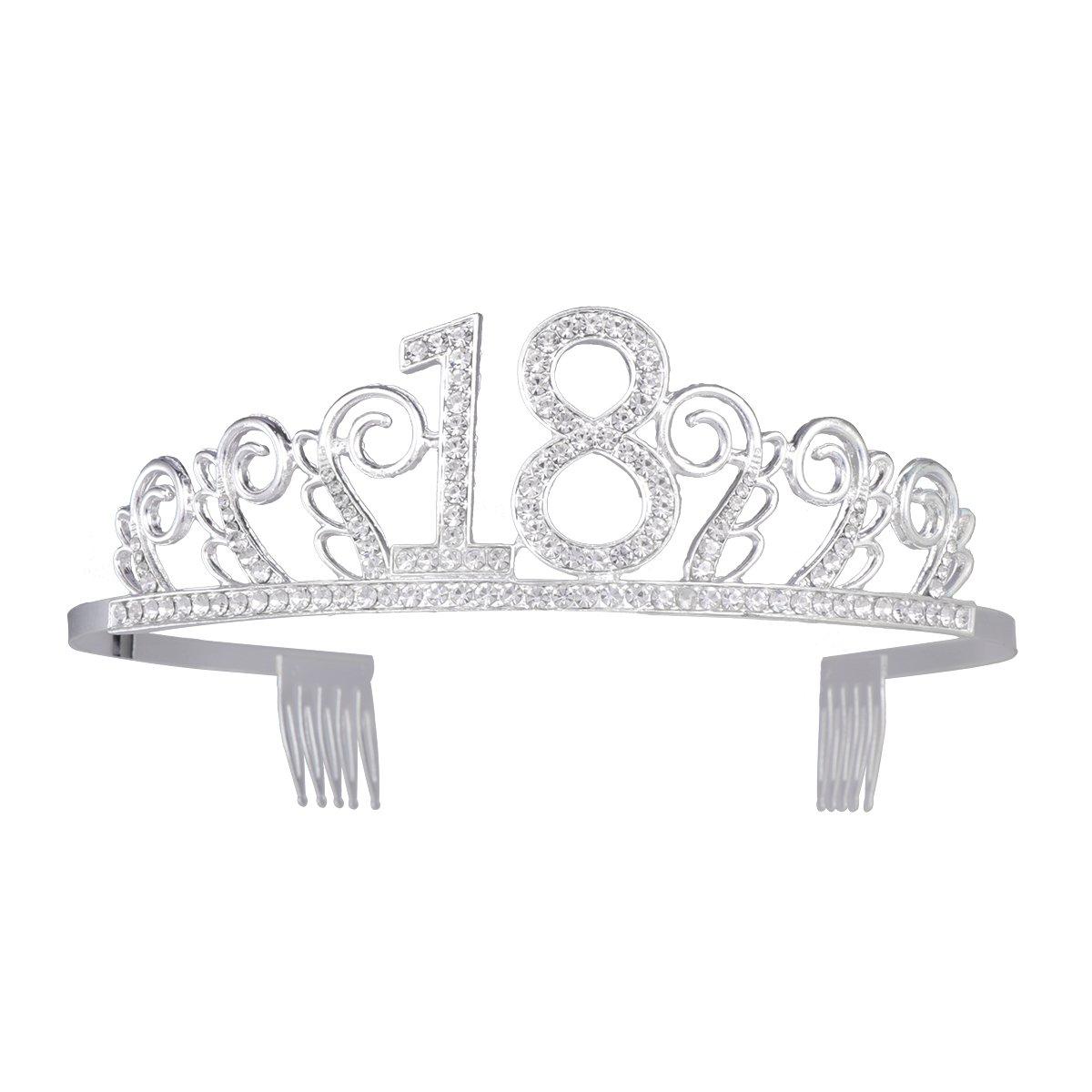 Frcolor Corona con strass in vetro, per il 18° compleanno, tiara con pettini, colore: argento