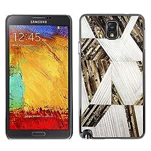 TopCaseStore / la caja del caucho duro de la cubierta de protección de la piel - Lines Pattern Gold White - Samsung Galaxy Note 3 N9000 N9002 N9005