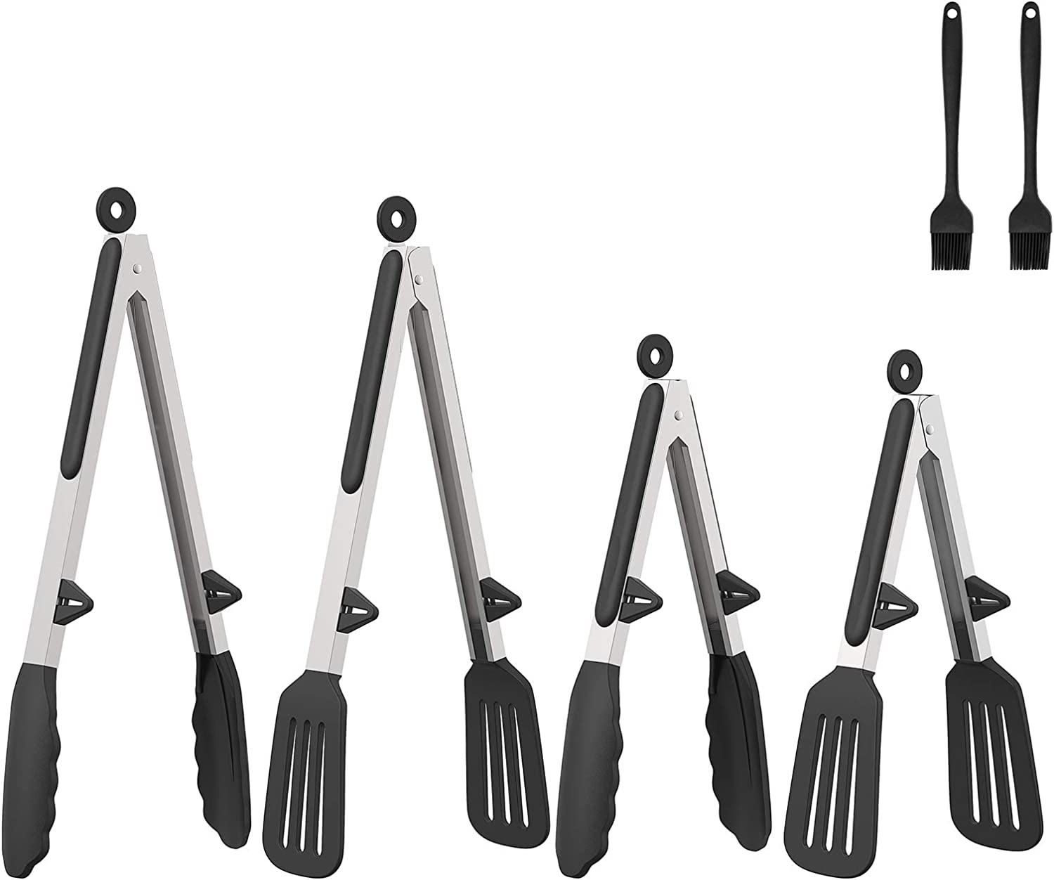 Kitchen Tongs for Cooking - Non-stick Premium Silicone Tips & Locking Stainless Steel Tongs - High Heat Resistant Dishwasher Safe Set 4 Packs for Cooking Salad BBQ Grilling - 13 Inch/10 Inch(Black)