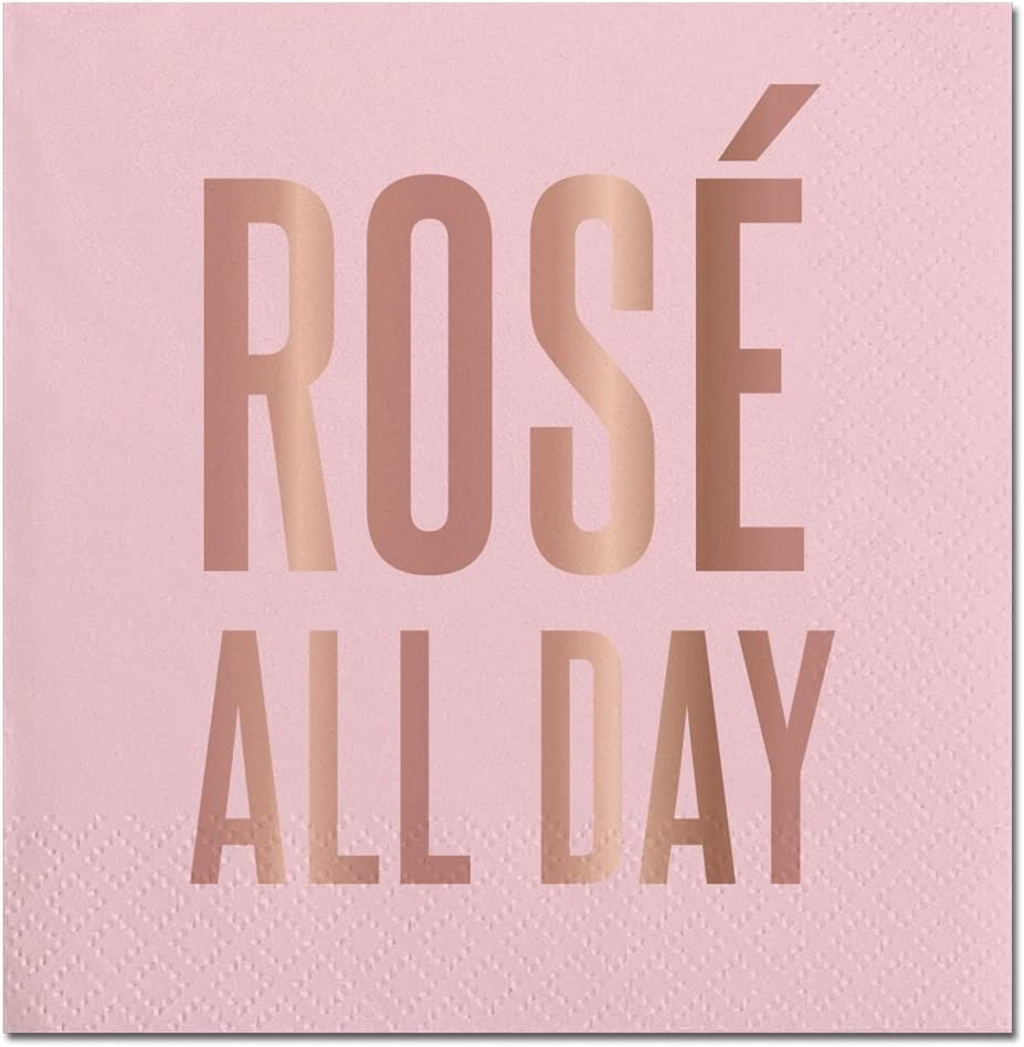 Creative Brands Slant Collections-20-Count Cocktail/Beverage Paper Napkins, 5 x 5-Inch, Rose` All Day