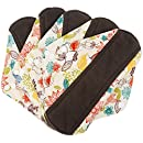Wegreeco Bamboo Reusable Sanitary Pads - Cloth Sanitary Pads - Pack of 5 (Medium, Camellia Beauty)