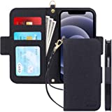 Skycase Compatible for iPhone 12 Mini Case 5G,[RFID Blocking] Handmade Flip Folio Wallet Case with Card Slots and Detachable