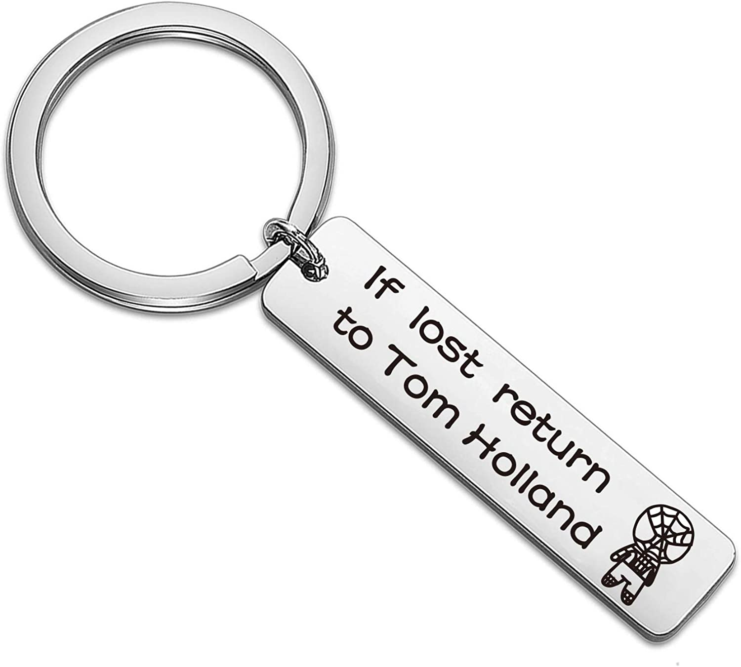 Inspirational Keychain If Lost Return to Tom Holland Gift for Son Daughter Friends Spiderman Jewery Shield Keychain for Spiderman Lover