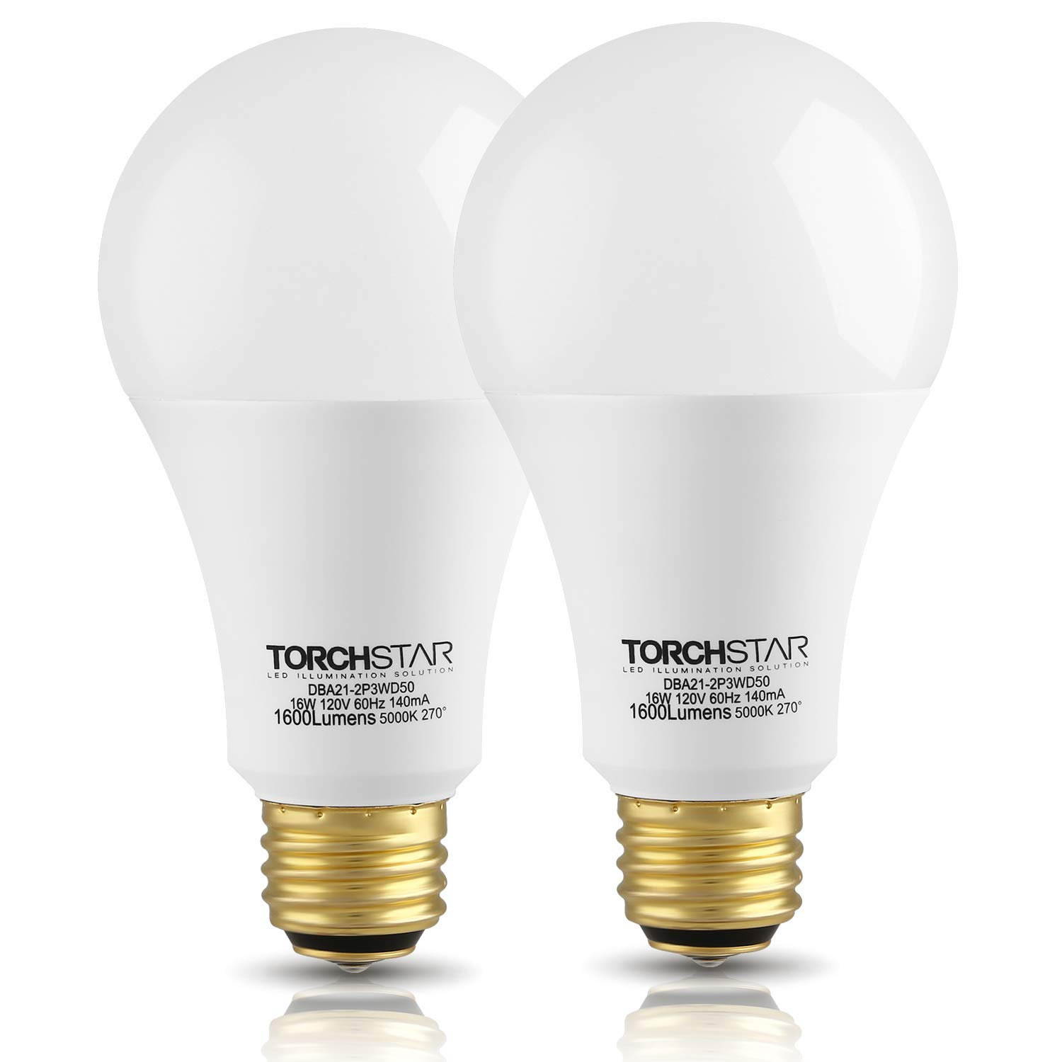 TORCHSTAR 3-Way 40/60/100W Equivalent LED A21 Light Bulb, Energy Star + UL-Listed,5000K Daylight, E26 Medium Screw Base, for Table Lamp, Bedside Lamp, Pack of 2