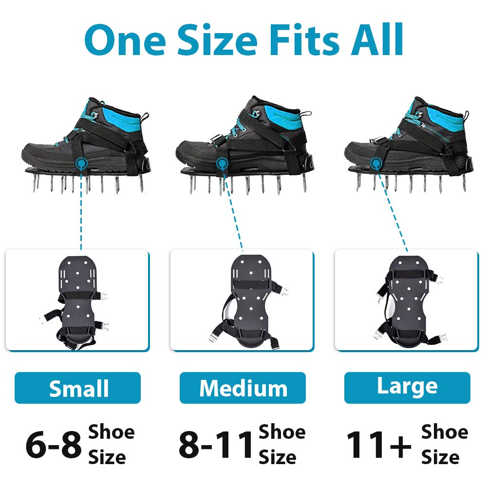 26 Spikes Heavy Duty Lawn Aerator Shoes for Effectively Aerating Lawn Grass Aeration Shoes with 2 Adjustable Straps /& Metal Buckles One Size Fits All Garden Soil Yard GEERTOP Lawn Aerator Shoes