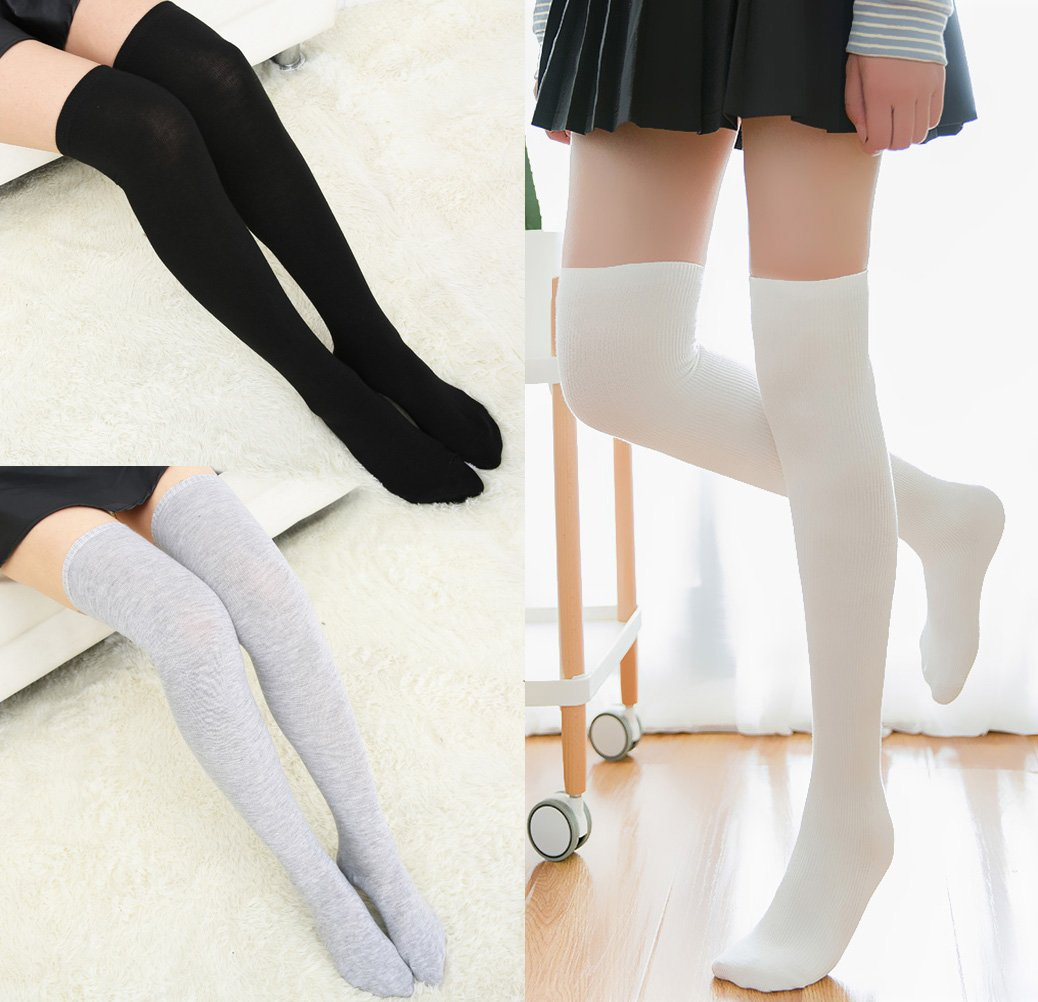 Chalier 3 Pairs Womens Long Socks Over Knee Stockings, White, Gray, Black, OS by Chalier (Image #6)
