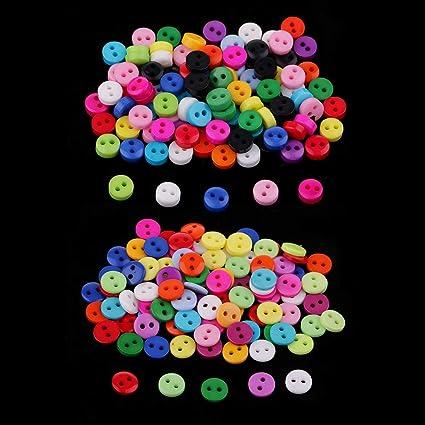 IPOTCH 100 Unids Botones Decorativos Escudo de Resina de 2 Agujeros Etiquetas Bot/ón para Coser a Mano 6mm