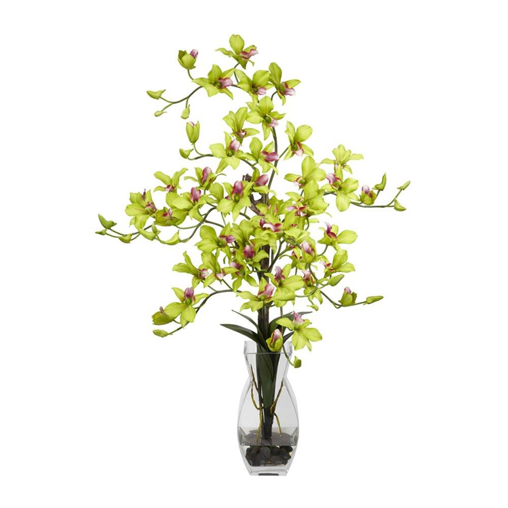ほぼ自然1190-GR 35。花瓶シルクフラワーアレンジメントとHグリーンデンドロビウム B00FSL3H42