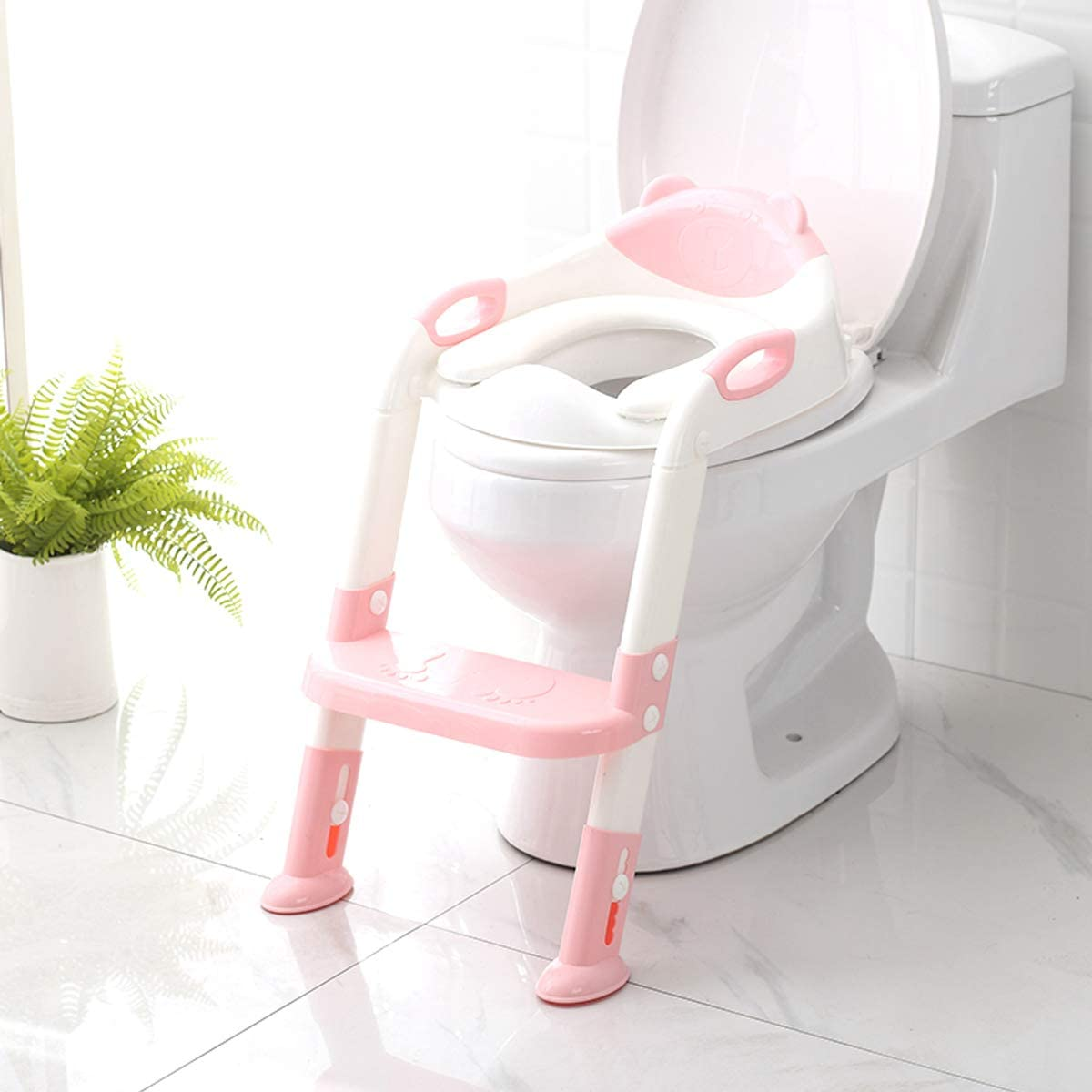 Potty Training Seat with Step Stool Ladder,SKYROKU Potty Training Toilet for Kids Boys Girls Toddlers-Comfortable Safe Potty Seat with Anti-Slip Pads Ladder Pink
