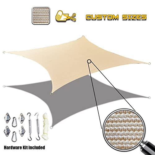 Alion Home Custom Sized Sun Shade Sail with Stainless Steel Hardware Kit – Rectangle, Banha Beige 8 x 16
