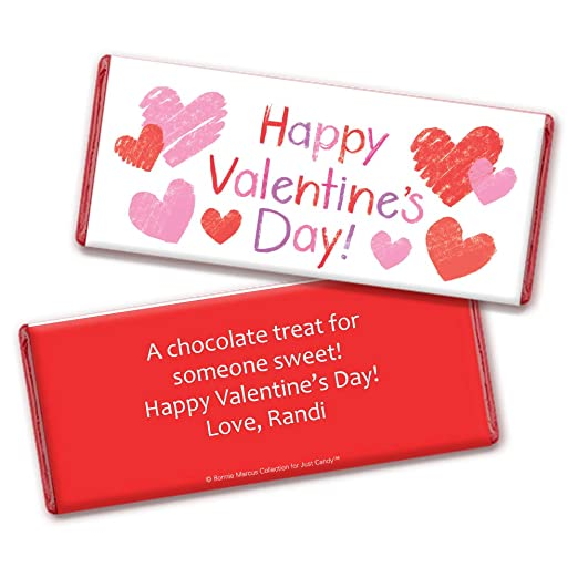 Amazon.com : Personalized Valentines Day Candy Favors Hersheys Chocolate Bars (24 Bars) : Grocery & Gourmet Food