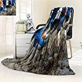 Fleece Blanket 300 GSM Anti-static Super Soft kids running trail race legs in mud and water Warm Fuzzy Bed Blanket Couch Blanket(60''x 50'')