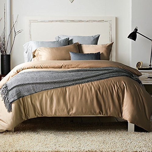 - UFO Home 3pc Duvet Cover Set, 600 Thread Count Percale, 100% Egyptian Cotton, Zipper Closure, No Inside Filler or Comforter, Smooth Solid Latte Color, Super Soft and Lustrous (Full, Latte-AH)