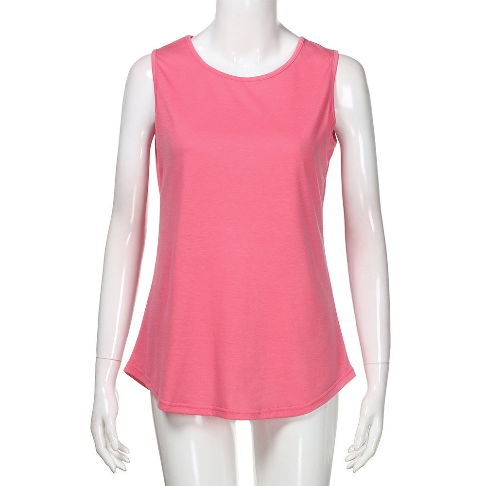 Solid Color Vest for Women, Gogoodgo Ladies Loose O Neck Swing Hem Tank Top Soft Fabric Sleeveless Classic Tops Pink by Gogoodgo vest (Image #4)