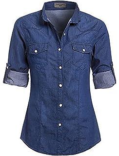 391924ed LE3NO Womens Boyfriend Button Down Denim Shirt with Pockets: Amazon ...