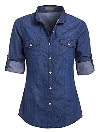 be635e392cf9c0 SS7 Women's Denim Shirt, Size 8-14, Denim Light Blue, Indigo: Amazon ...