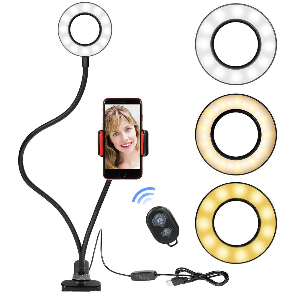 Selfie Ring Light Cellphone Holder - Rovtop Ring Light Stand Live Stream Makeup, 3 Light Modes 10-Level Brightness 360 Rotating for iPhone Android Cell Phone, Black with Remote by Rovtop