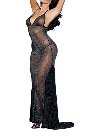 Amazon Sunspice Sexy Sheer Black Shining Mesh Long Nightgown