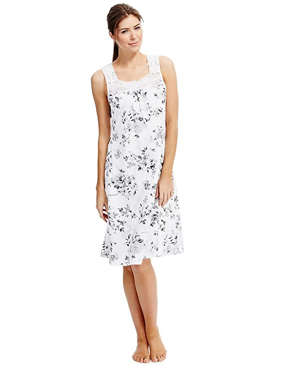 Ladies Ex M S Floral Print Lace Yoke Modal   Cotton Blend Nightdress.   Amazon.co.uk  Clothing 3e8ca3d01