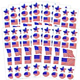 american flag sheets - Patriotic American Flag Stickers Party Favors Set -- Over 140 USA Foil Stickers (14 Sticker Sheets, 4th of July Party Supplies)
