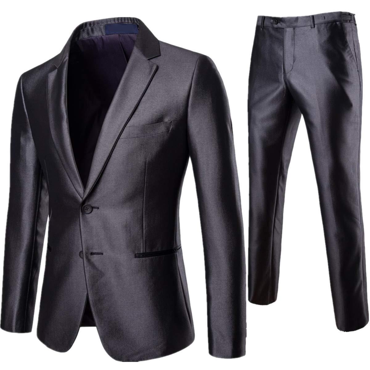 AOWOFS Herren Slim Fit Anzug 2 Teilig Bü gelfrei Herrenanzug Business Hochzeit Sakko Anzughose