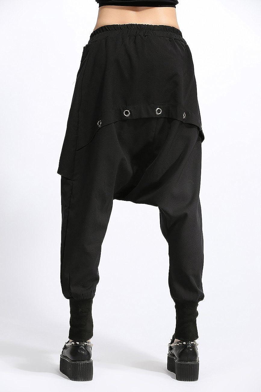 ELLAZHU Women Unique Design Pockets Black Harem Hippie Hip-Hop Pants GY1054