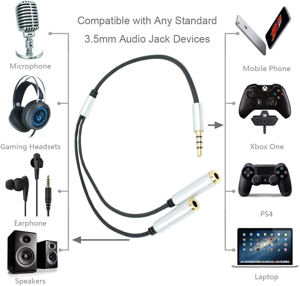 CamDesign Silver Headset Y Splitter Audio Adapter Cable 3.5mm Male to 2 Female Mic Audio CTIA Headphone Adapter Compatible with PC Gaming Headset,PS4,Xbox One,Notebook,Android iPhone Tablet MP3