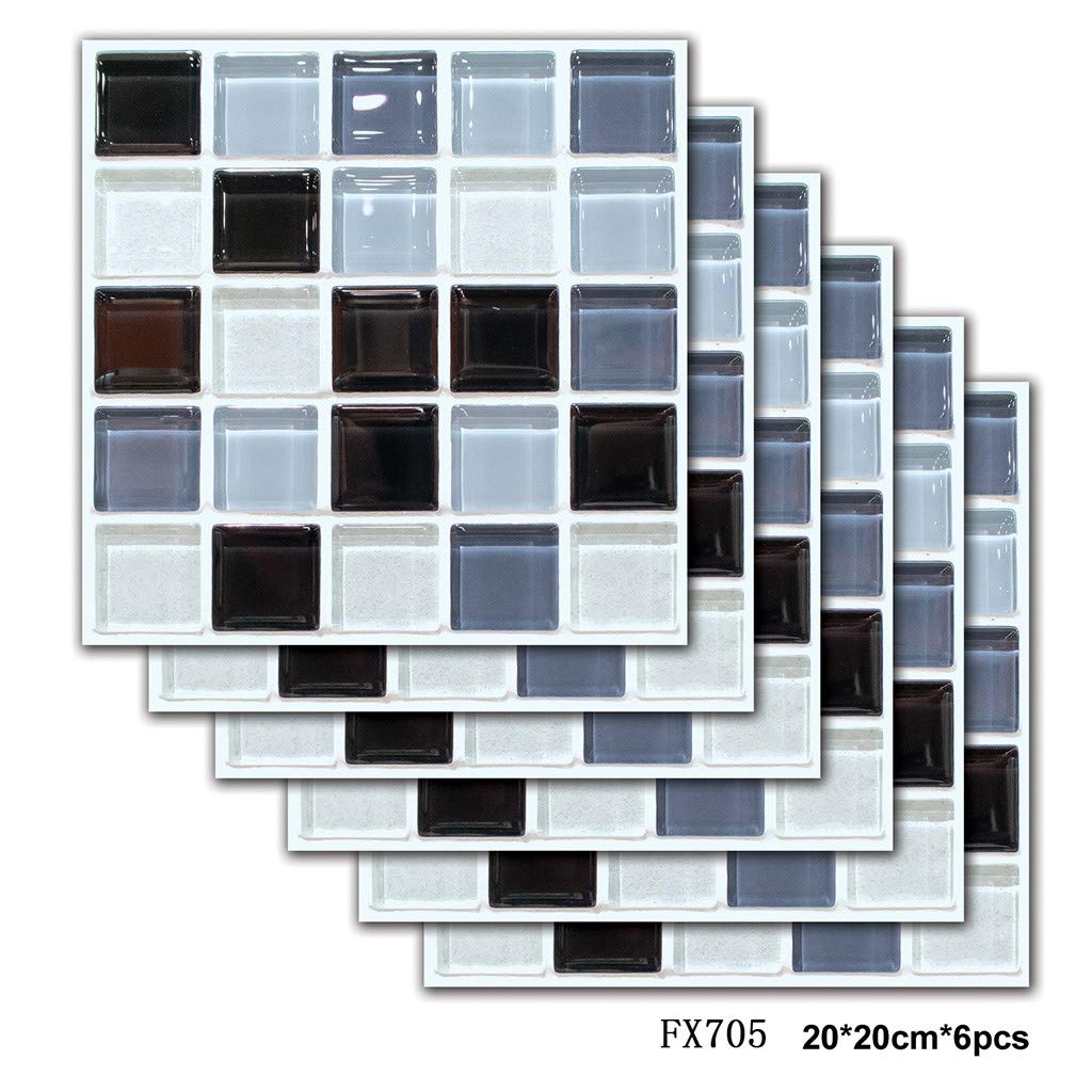 QIUUE 6PCS 3D Self-Adhesive Wall Stickers PET Simulation European Mosaic Geometric Tile Stickers Home Decor, 20×20cm (6pcs) by QIUUE