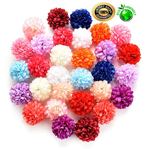 silk flowers in bulk wholesale Fake Flowers Heads Artificial Carnation Flower Head Handmade Home Decoration DIY Event Party Supplies Wreaths 30pcs/lot 4cm (Multicolor) ()