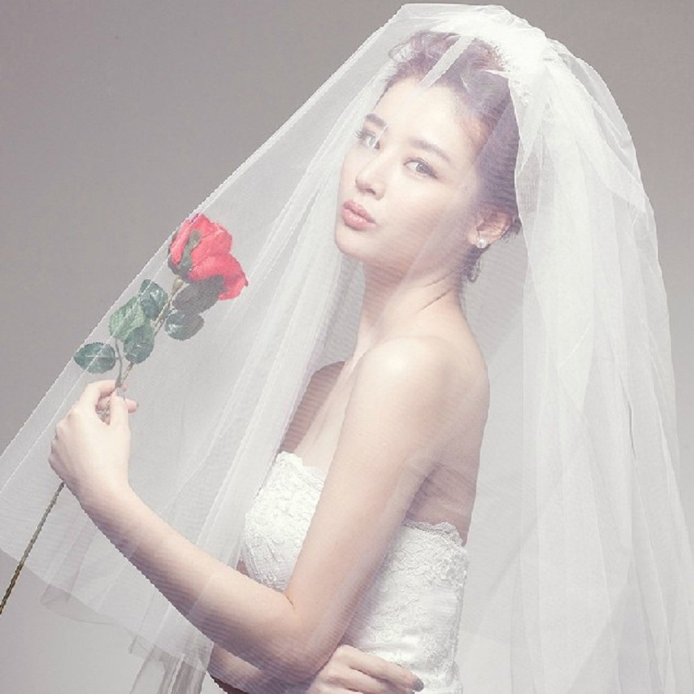 Eliffete Simple 2 Tiers Tulle Wedding Bridal Veil Short Veil for Bride with Comb