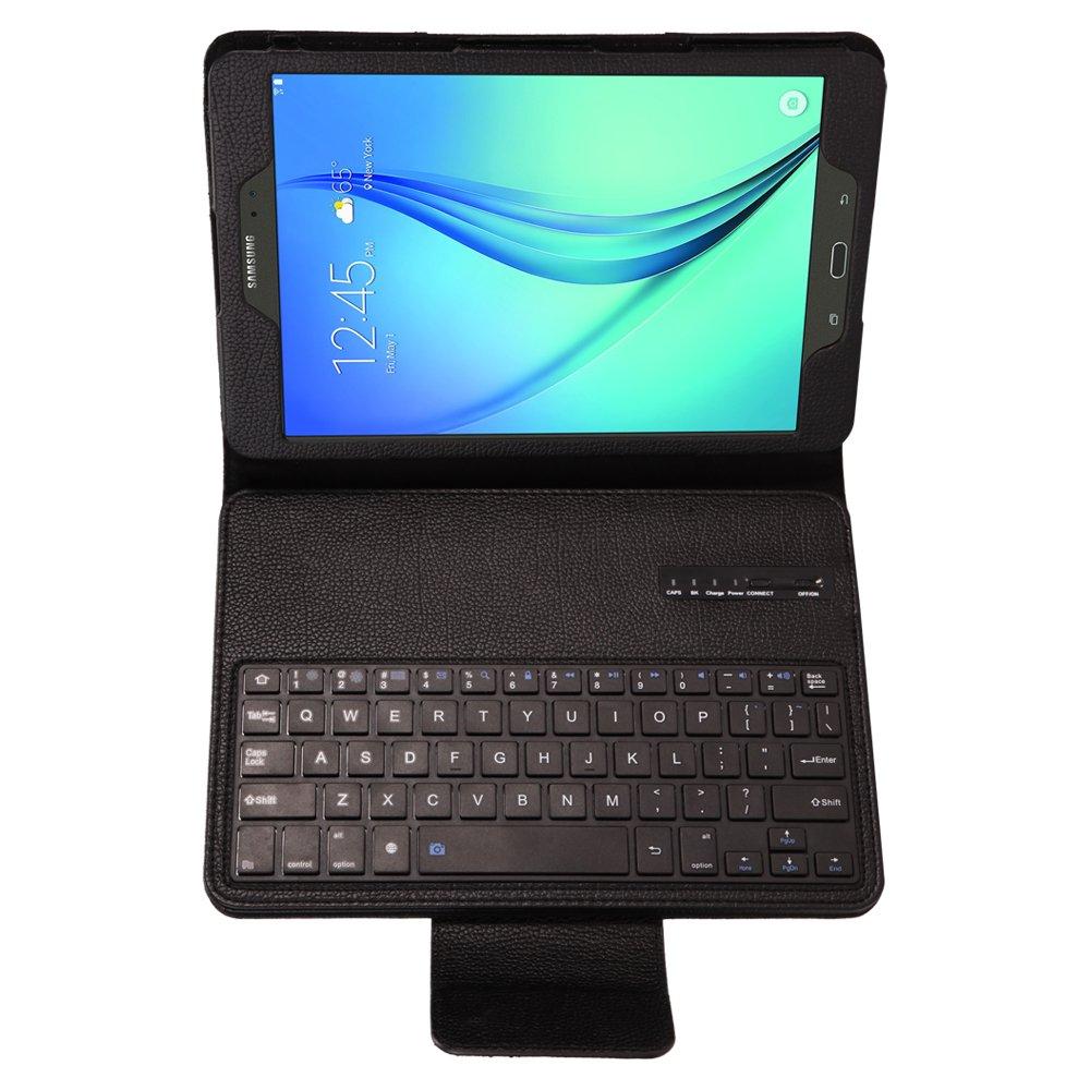 Protectora Plegable Magn/ético Leather Carcasa Flip Case Cover con Desmontable Teclado Bluetooth Inal/ámbrico Negro Efanty Teclado Bluetooth Funda para Samsung T550