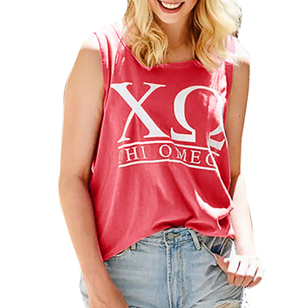 OSTELY Tops for Women Casual Loose O-Neck Letter Printing Sleeveless Tank Blouse(Red,XL)