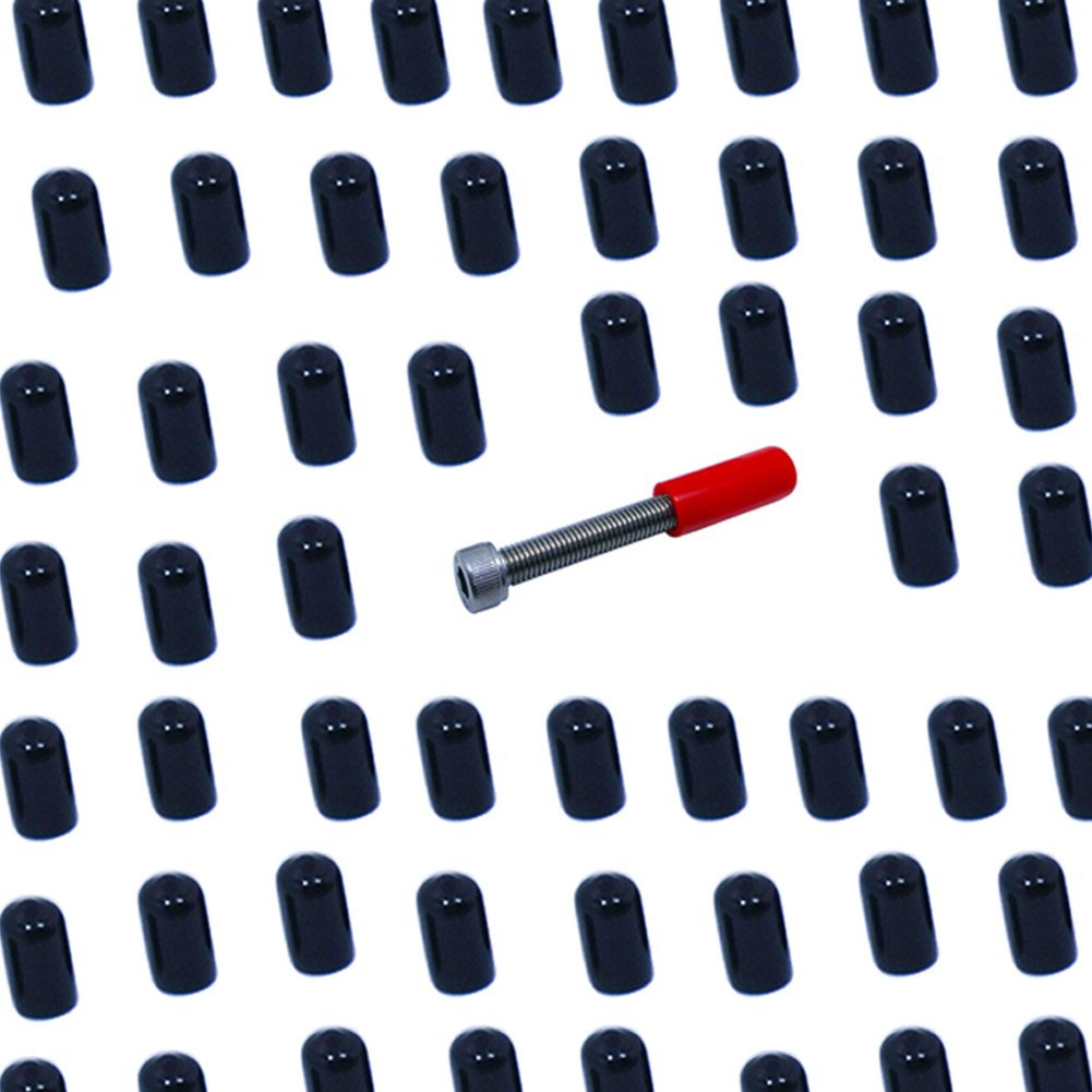 Mike Home 200 Pcs Screw Thread Protector Covers Rubber End Cap Black (Inside Diameter 6.5mm/0.25'')