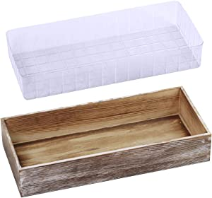 "1 Pcs Wood Planter Box Rectangle Whitewashed Wooden Rectangular Planter Decorative Rustic Wooden Box with Inner Plastic Box - 17.3"" L x 7.8"" W x 3"" H Floral Natural Centerpieces Rustic Wedding Decorat"