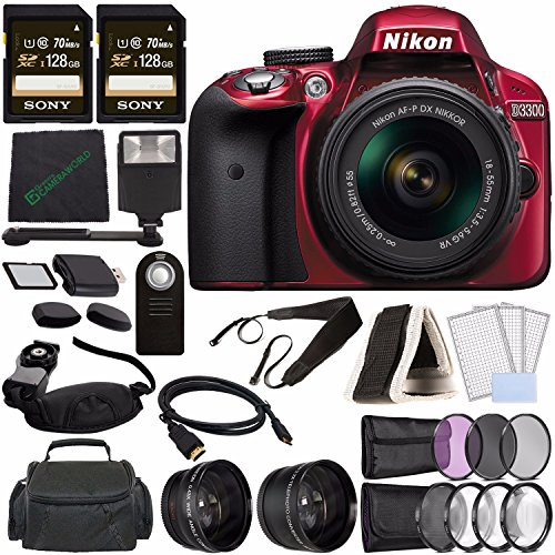 Nikon D3300 DSLR Camera with 18-55mm AF-P DX Lens (Red) + Sony 128GB UHS-I SDXC Memory Card (Class 10) + Remote + Flash + Cleaning Cloth Bundle by Nikon