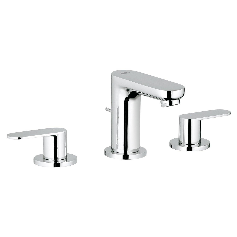 GROHE 2019900A Eurosmart Cosmopolitan urosmart Cosmopolitan Widespread 2-Handle 3-Hole Bathroom Faucet, 1.2 GPM, Starlight Chrome