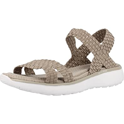 Sandals Silver Warped Skechers Taupe Womens Breeze Counterpart 38596 IWD9H2EY