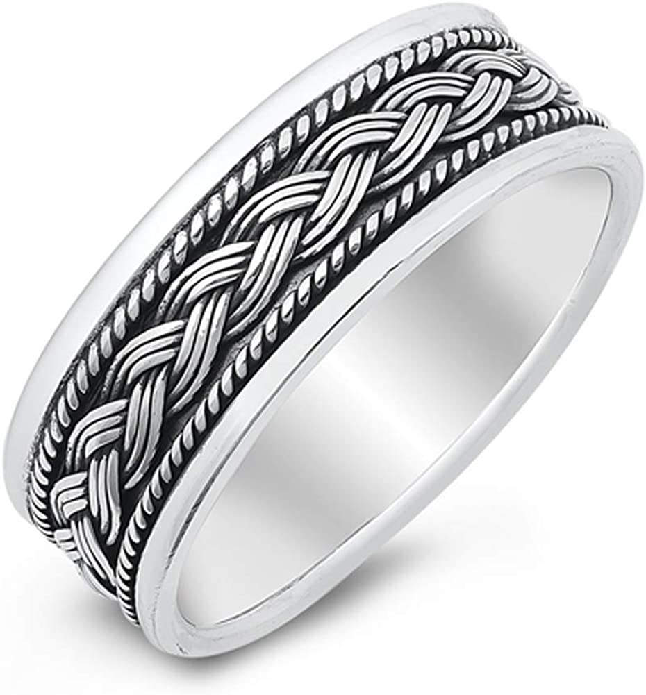 Princess Kylie Sterling Silver Infinite Braided Band Ring