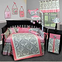 SISI Baby Bedding - Pink and Grey Damask 15 PCS Crib Bedding Set