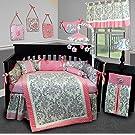 SISI Baby Bedding - Grey Damask 13 PCS Crib Bedding Set