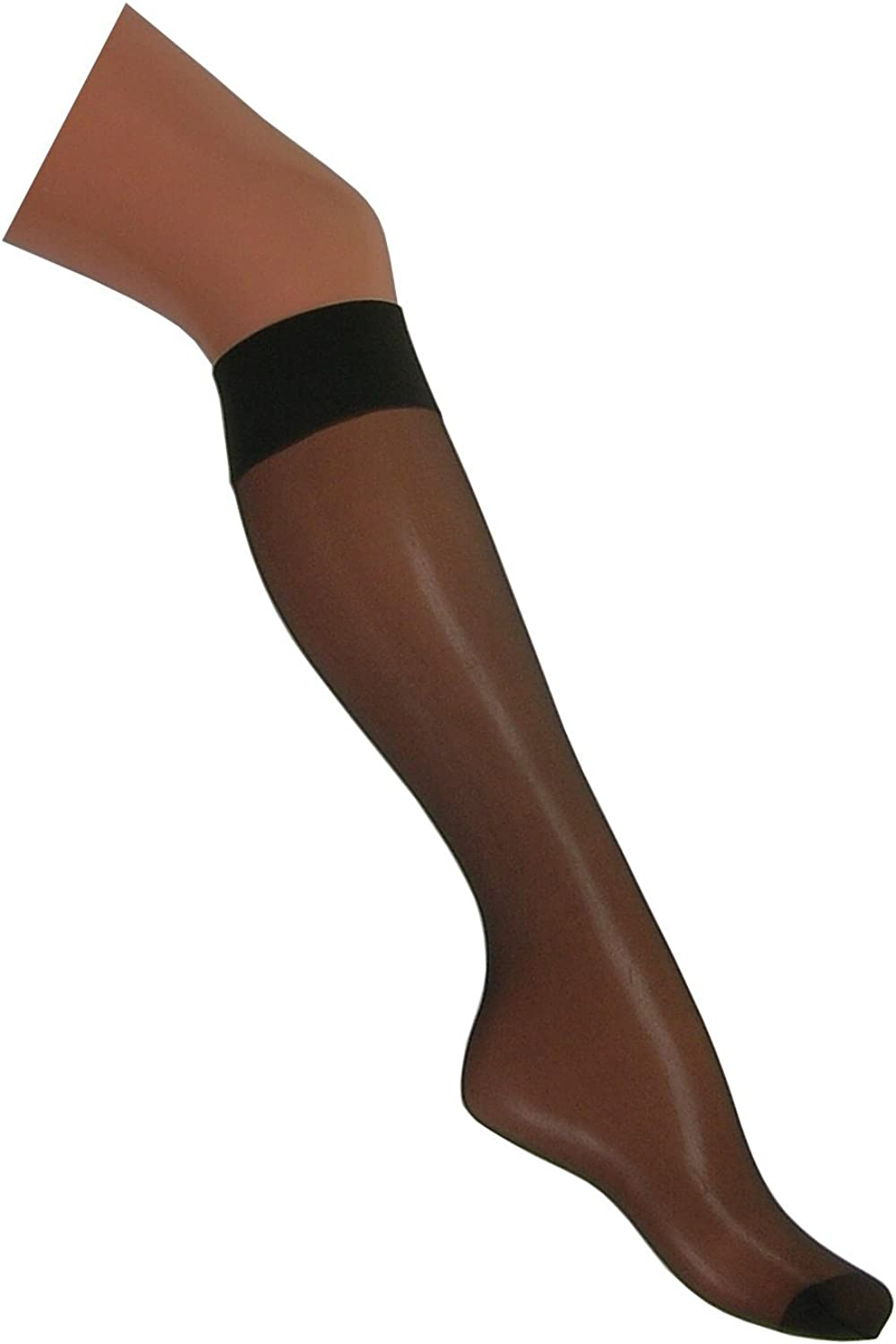 Natural /& Barely Black 3 Pairs 15 Denier Knee Highs with Lycra/® One Size