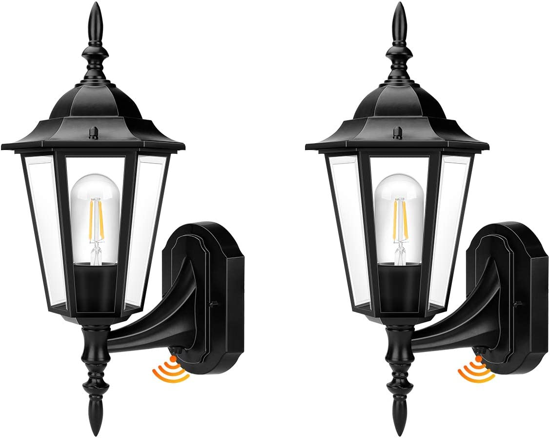 Outdoor Wall Light, Dusk to Dawn Outdoor Lighting Sensor Outdoor Wall Lantern, E26 LED Bulb Included, Anti-Rust Waterproof Matte Black Porch Light with Clear Glass for Doorway, Porch (2 Pack)