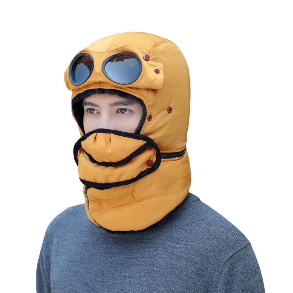 Jullyend Winter Windproof Trapper Hat for Men and Women with Goggles Mask Flap Bomber Cap for Outdoor Sports