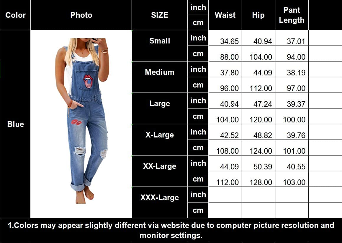 Womens Denim Overalls Distressed Jumpsuits Bib Pants Rompers with Pockets Overall Loose Jeans Plus Size