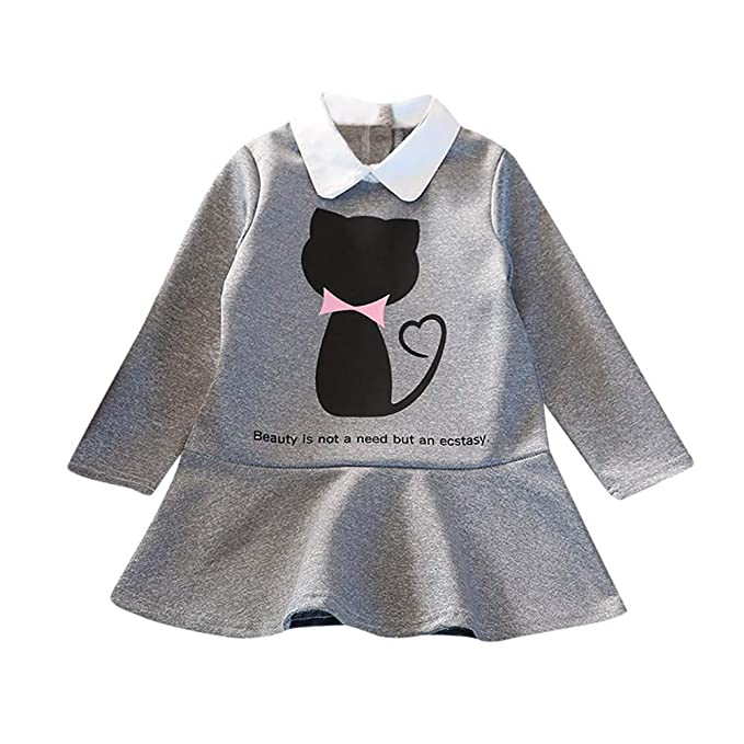 469ca7d2e336 Amazon.com  KONFA Teen Toddler Baby Girls Cartoon Kitty Party Dress ...