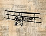 Antique Airplane Print Vintage Triplane llustration Wall Art & Home Decoration with a Vintage Newspaper Background Style - Office, Bedroom, Nursery Room, Living Room Home Decor (16 x 20 Inches)