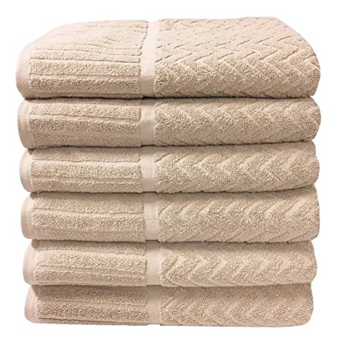 - Metro 100% Cotton 6-piece Chevron Bath Towel Set (Linen)